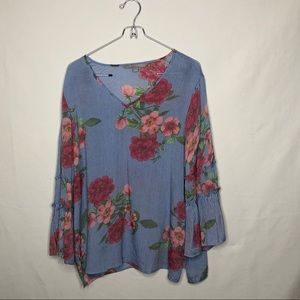 Valerie Stevens Blue Pin Stripe Floral Top